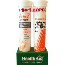 Health Aid A to Z Αctive With Q10 + Vitamin C 1000mg 40 αναβράζοντα δισκία
