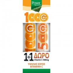 POWER HEALTH VITAMIN C STEVIA 1000MG + ΔΩΡΟ VITAMIN C 500MG
