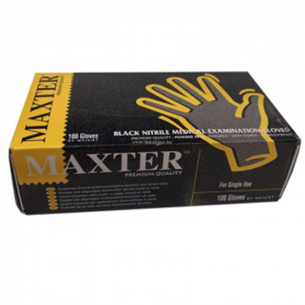 Γάντια Νιτριλιου Μαυρα χωρίς Πούδρα Μιας Χρήσης 100τμχ
